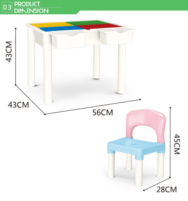 educational learning table with chair storage box size
