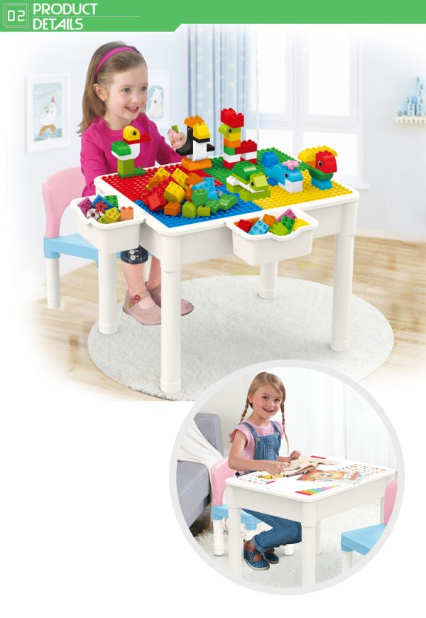 educational learning table with chair storage box detail