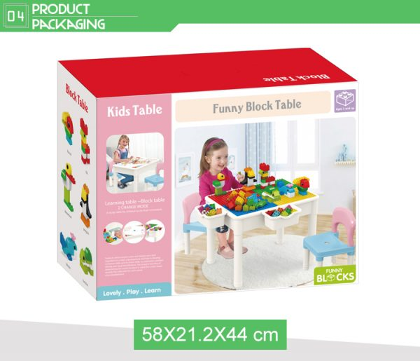 educational learning table with chair storage box package