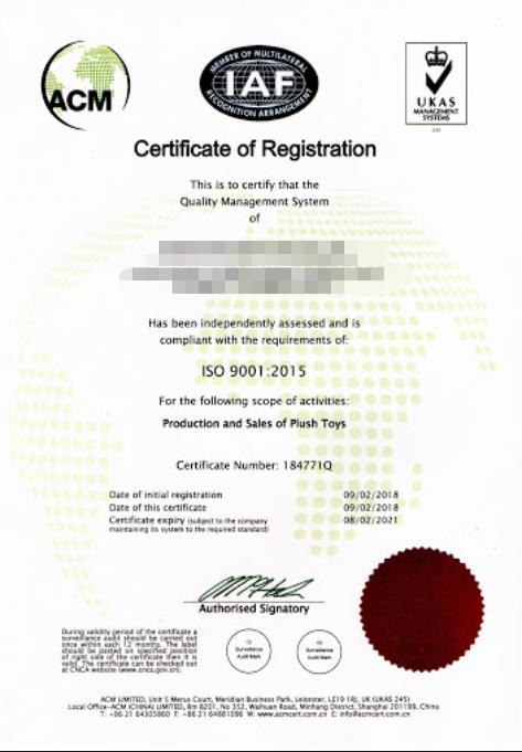 ISO 9001 2015 certificates Toys