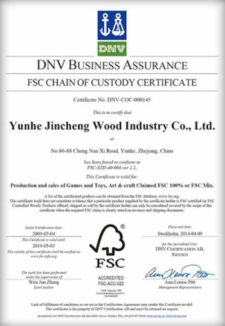 Toys FSC certificate